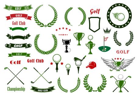Golf y golf deporte elementos de diseño con pelotas y palos cruzados, zona verde con el agujero y la bandera, taza del trofeo, coronas de laurel y el marco de la estrella, heráldicos del escudo y la cinta banners, corona y alas