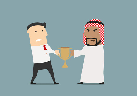 fighting: Competición del asunto y concepto de diseño rivalidad con los hombres de negocios europeos y árabes de ira, que luchan sobre una taza trofeo de oro Vectores