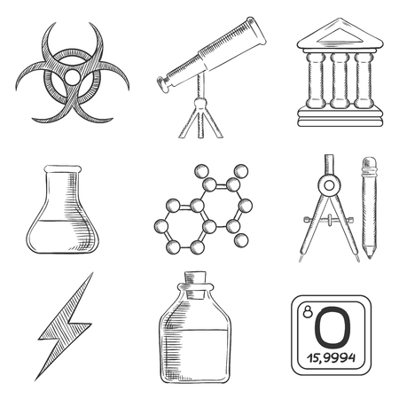 tuber: Science and chemistry sketches icons and symbols with telescope, flask and tuber, compasses, atom, ancient temple, radiation and power signs. Sketch style