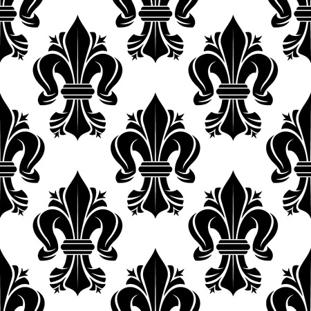 scroll tracery: Black and white seamless fleur-de-lis floral pattern with curled lilies. Wallpaper, textile or interior usage