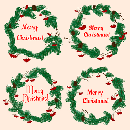 pine wreaths: Christmas wreaths with winter holiday decorations with lush green pine, cones, red holly berries and text Merry Christmas