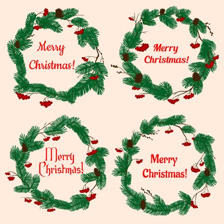 coronas de navidad: guirnaldas de Navidad con decoraciones de vacaciones de invierno con el pino verde exuberante, conos, bayas rojas del acebo y el texto Feliz Navidad