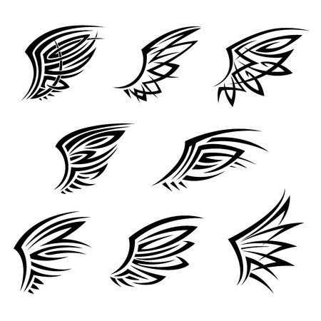 Black tribal wings with abstract decorative feathers. Design elements for tattoo, t-shirt print or emblems