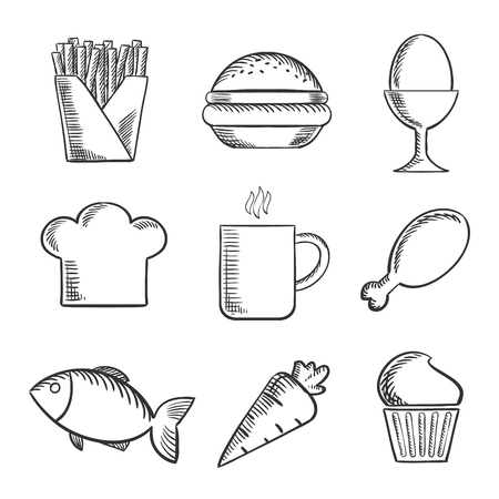 boiled egg: Food sketched icons set with French fries, boiled egg, toque, cookie, coffee, drumstick, fish, carrot and cupcake Illustration