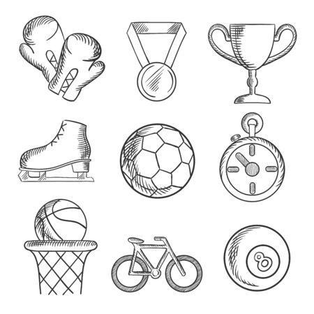 sketched icons: Sketched sport games icons with basketball, soccer , football, ice skating, boxing gloves, cycling and bowls with a winners medal, trophy and stopwatch. Sketch elements Illustration