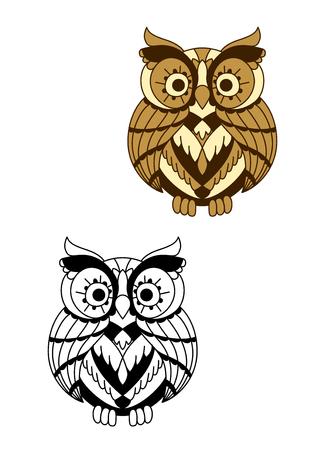 long eyelashes: Cartoon brown owl bird with long eyelashes around big eyes. Education mascot or halloween usage