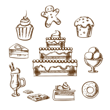 gingerbread cake: Sweet desserts icons with three tiered cake decorated with cream, berries, cupcakes, ice cream, donut, slices of honey cake and cheesecake, gingerbread man and hot chocolate. Sketch style Illustration