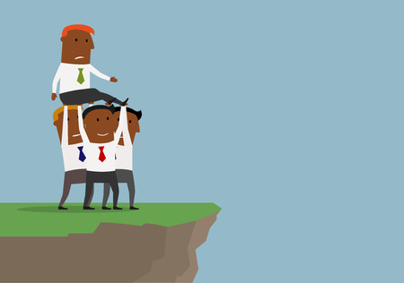 competitor: Cartoon african american businessmen  team carrying competitor or boss to the edge of cliff to throw him down. Unfair competition or business conflict concept