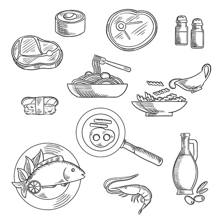 raw beef: Healthy food sketch icons of sushi roll and nigiri, pasta and spaghetti with sauce, raw beef steaks, grilled fish, shrimp, fried eggs with sausages, olive oil bottle, salt and pepper