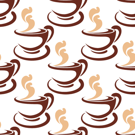 steaming: Steaming coffee cup seamless pattern with brown and beige cappuccino coffee mugs Illustration