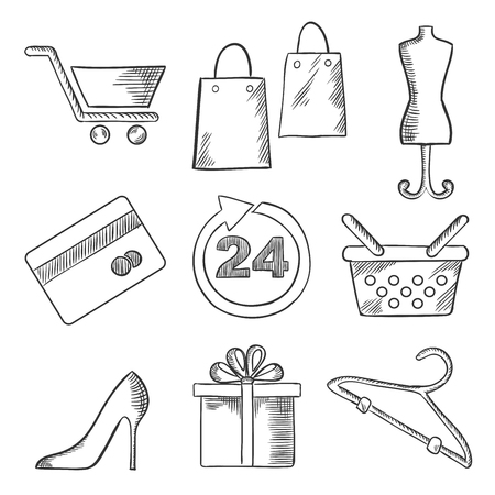 dress size: Business, retail and shopping sketched icons of shopping cart, bags, tailors dummy, stiletto shoe, dress size, gift, hanger, credit card and shopping bag. Sketch style Illustration
