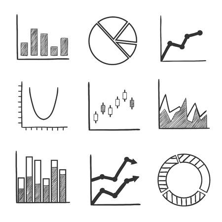 grafica de barras: gráficos de negocios y gráficos estadísticos con un diagrama de sectores, gráficos de barras, gráficos de flecha y el Diagrama de flujo con diferentes tendencias de rendimiento. iconos del estilo del bosquejo