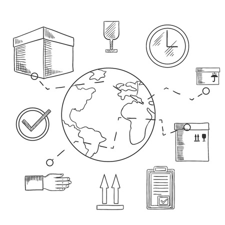 international shipping: International shipping and delivery service icons of cardboard boxes with packaging symbols, order list and clock with globe and caption Shipping below. Sketch style illustration Illustration