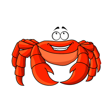 hardshell: Cheerful smiling red crab cartoon character standing with large pincers. Addition to fairy tale or mascot design