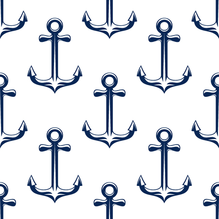nautical equipment: Seamless retro marine anchors pattern with blue ship anchorage elements over white background.  For nautical or wallpaper design