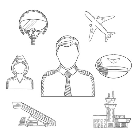 peaked: Pilot profession sketched icons with captain in uniform surrounded by stewardess, airplane, flight helmet, peaked cap, airport building and aircraft steps. Sketch style