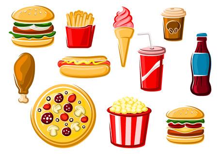 perro caliente: alimentos y bebidas rápidas iconos con las patatas fritas, pizza italiana, hamburguesa, hamburguesa con queso, helados, refrescos, pollo, perro caliente, la taza de café y caja de palomitas de maíz. Para la entrega de comida para llevar o el uso del diseño del café, aislado en blanco