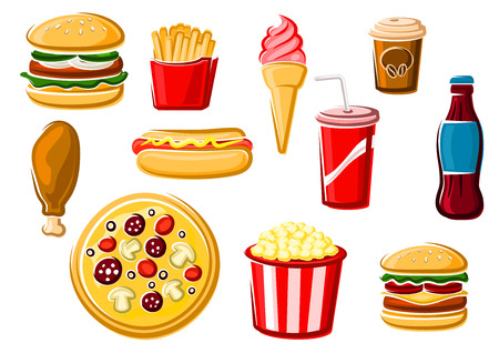 hot dog: Fast food and beverage icons with french fries, italian pizza, hamburger, cheeseburger, ice cream, soda, chicken, hot dog, coffee cup and popcorn box. For takeaway delivery or cafe design usage, isolated on white
