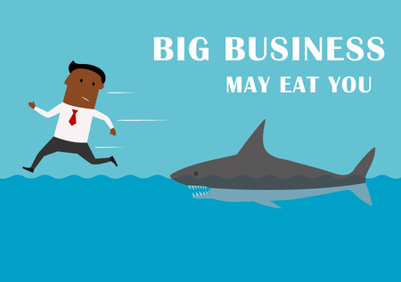 competitor: Scared african american businessman running away from dangerous competitor of big business angry shark. Big business may eat you, cartoon business concept