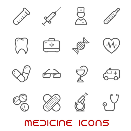 ecg heart: Medicine and health thin line icons set with silhouettes of hospital and pharmacy signs, nurse, ambulance, first aid box, pills, syringe, stethoscope, eyeglasses, cardiology, flask, heart ecg, tooth, dna, microscope