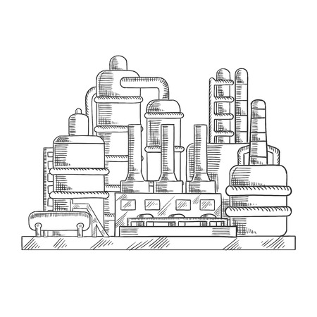 industrial design: Oil refinery factory sketched illustration with modern industrial plant. For processing and chemical refining of crude design usage, sketch style