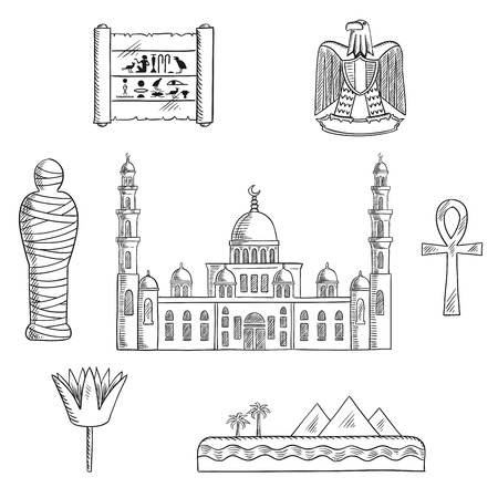 ancient egyptian culture: Egypt travel sketched icons with Cairo mosque, pharaoh mummy, desert landscape with pyramids and sea, sacred lotus flower, papyrus with hieroglyphics, eagle emblem and ankh symbol. Sketch syle illustration
