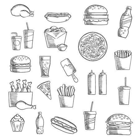 lunch: Comida para llevar y comida r�pida esbozadas iconos con las patatas fritas, pizza, hamburguesas, pollo, queso, pasteles, bebidas gaseosas, perro caliente, helados, condimentos y bebidas. el estilo de dibujo