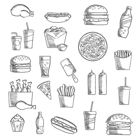 condiments: Takeaway and fast food sketched icons with french fries, pizza, hamburger, chicken, cheeseburger, cake, soda drink, hot dog, ice cream, condiments and beverages. Sketch style