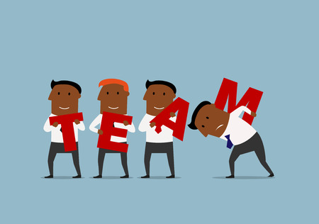 connect people: Happy cartoon team of african american businessmen are carrying big red letters to connect the word Team. Business team, teamwork and partnership concept Illustration