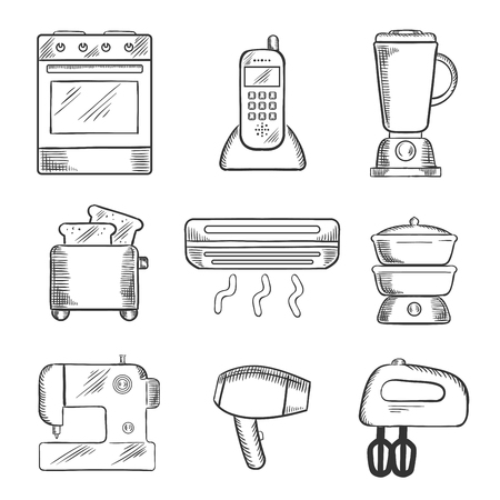 sketched: Home appliance sketched icons set with on oven, telephone, liquidizer, toaster, heater, steamer, sewing machine, hairdryer and egg beater. sketch style Illustration