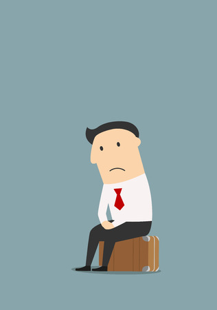 Depressed fired cartoon businessman sitting on a suitcase after dismissal. Unemployment theme concept Vectores