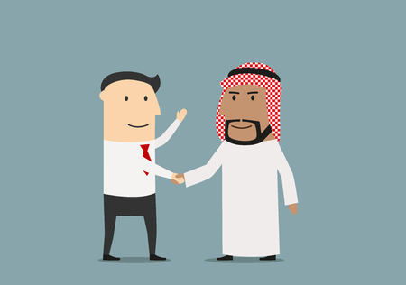 man at work: International agreement concept with handshake of smiling european and arab businessmen, that confirm their partnership Illustration