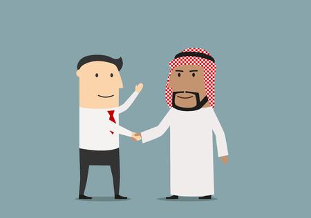 Internationale overeenkomst concept met handdruk van lachende Europese en Arabische zakenlieden, dat hun partnerschap te bevestigen