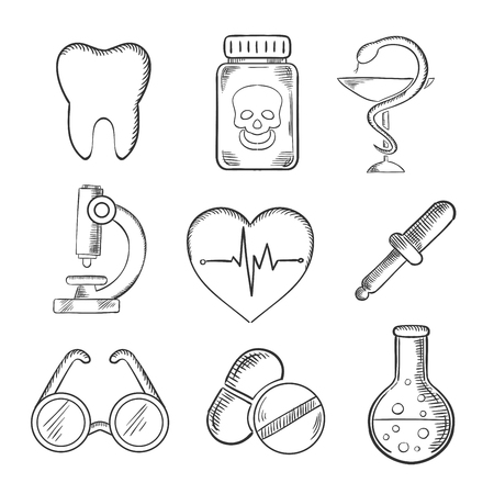 sketched icons: Medical and healthcare sketched icons with a tooth, dentistry, poison, microscope, heart with ECG, spectacles, dropper and laboratory tube. Sketch style icons