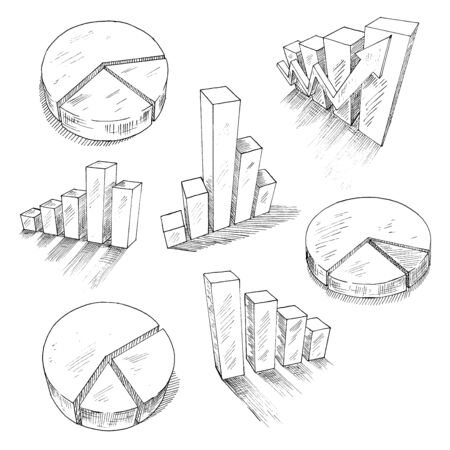 business report: Sketched 3d charts and graphs with different bar graphs and pie charts, with shadows or reflections. For business, management and development concept design usage. Sketch style Illustration