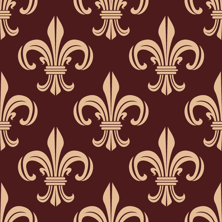 dark brown background: Floral royal lilies seamless pattern with classic ornament of heraldic fleur-de-lis on dark brown background. Wallpaper or textile accessories design usage Illustration