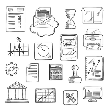 gear box: Business, financial and office sketched icons with computer, report, financial charts, graph, smartphone, letter and delivery box, bank, rubber stamp and calculator, wall clock and hourglass, printer, percent symbol and gear