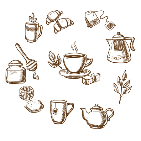 Herbal tea, dessert and bakery sketch icons with cup of hot tea on saucer, mint leaves, sugars, lemon and croissant surrounded teapots and cups, honey jar with dipper, tea bag, tea leaves and ginger. Isolated objects on white Çizim