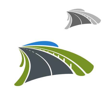 путешествие: Значок шоссе дорога проходит среди зеленых полей. Транспортировка или концепция путешествие дизайн