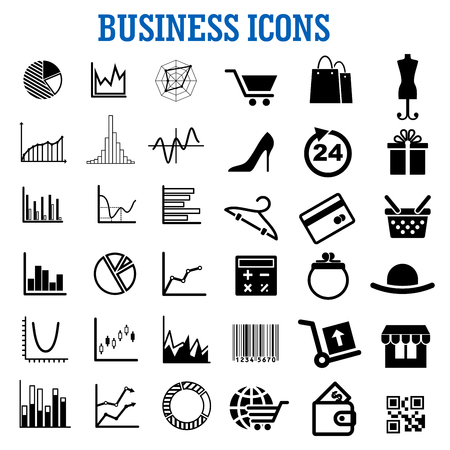 Business, finance, shopping, retail and commerce flat icons with charts, online store, bank credit card, shopping cart, diagram, bags, gift, basket, histograms, calculator, wallet, globe, bar and qr codes, hand truck, 24 hour service, shoes and hat