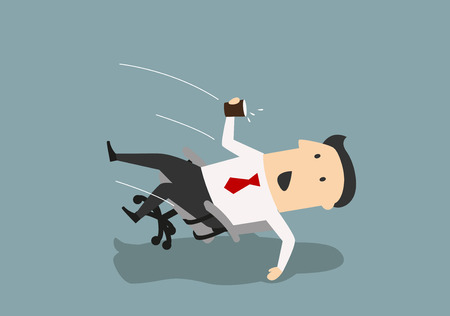Cartoon careless businessman falls backwards in an office chair. Accident at workplace concept