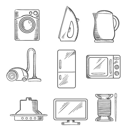 white house: Kitchen and home appliance sketched icons with vacuum cleaner, kettle, iron, fridge, microwave oven, needle and cotton, television and washing machine. Sketch style Illustration