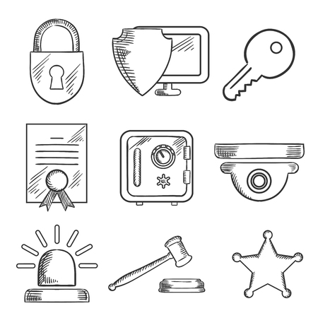 guard house: Security sketched icons set with padlock, computer security virus, certificate, key, police alarm, gavel and sheriff star. Sketch style Illustration