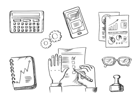 analytical: Business and office sketch icons with businessman completing a check list surrounded by analytical charts, calendar, hand stamp, eyeglasses, notebook, calculator and tablet