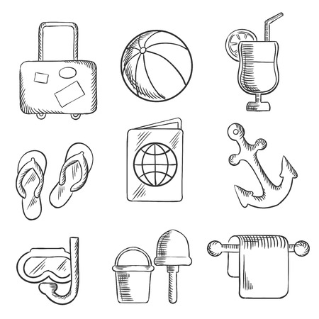 thongs: Summer vacation and travel sketched icons depicting luggage,beach ball, cocktail drink, thongs, ticket, passport, anchor, snorkeling, bucket and spade. Sketch style