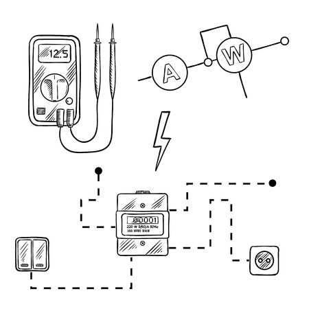 design abstract: Digital voltmeter, electricity meter with socket and switches, electrical circuit diagram. Sketch icons for electrical supplies and diagram design