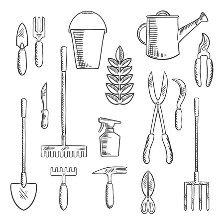 hoe: Hand gardening tools sketched icons with trowel, knife, fork, shears, rake, scissors, spray bottle, weeding hoe, sickle and watering can. Sketch style objects