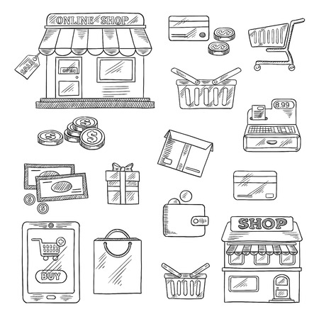 gift basket: Shopping and retail icons in sketch style of online shop, sale tag, tablet pc and buy button, money, credit card, shopping cart, basket and bag, store, wallet, cash register, gift and delivery box