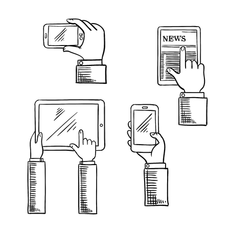 Modern digital devices with businessmen hands which using smartphones and tablet computers. Communication or mobile technology sketch icons