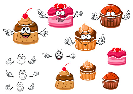 cake with icing: Delicious cartoon chocolate cupcakes with raisins and cream, fruit dessert with berry sauce and caramel pudding with cherry on the top. Use as bakery, pastry, confectionery shops emblems or dessert menu Illustration